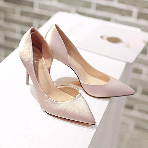 Damen Pumps Seide Slip On Stilettos Spitze Moderne Freizeit High Heels Pink
