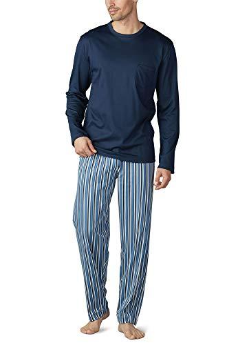 Mey Night Breiter Streifen Herren Schlafanzüge lang Blau 52