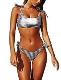 Yuson Girl Conjuntos De Bikini De Talle Alto a Tartán Sexy Retro Brasileños Mujer Traje De Baño Dos Piezas con Crop Top Push Up Bra Bikini Anudado Tiras Tanga Braga Bikini Triangulo Alta