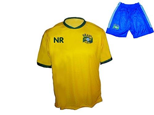 Brasilien Trikot Hose mit Wunschname Nummer Kinder Größe 128 (Jugend-fußball-torwart Trikot-mädchen)