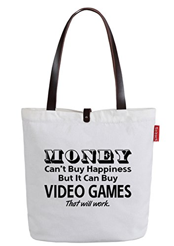 So'each Women's Money Can't Buy Happy Top Handle Canvas Tote Shoulder Bag White