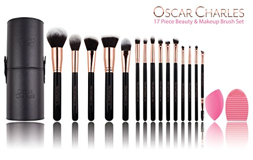 Oscar Charles Makeup Brush Set: Make up Brushes Professional, Beauty Blender and Cleaner,in a Stylish Travel Case, Presented in a Beautiful Ladies Gift Box