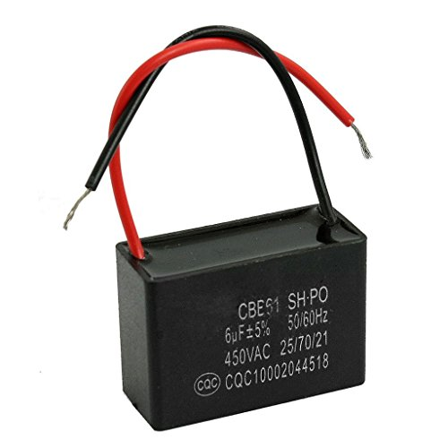 Lüfter Kondensator Motor (Winwill® CBB61 SH 6uF 450VAC Motor läuft Lüfter Kondensator schwarz w 2 Bleidrähte)