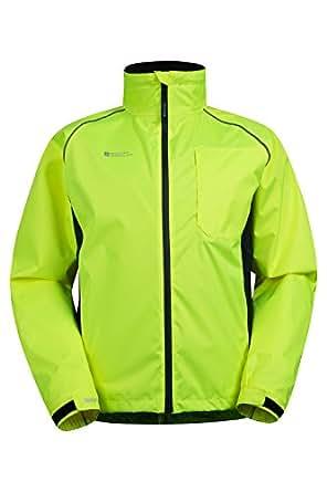 Mountain Warehouse Adrenaline Mens Iso-Viz Jacket - Breathable, Taped Seams, Waterproof Fabric with Mesh Lining, Reflective Print & Piping, Adjustable Cuffs & Hem Yellow X-Small