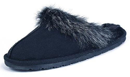 AgeeMi Shoes Damen Rund Schließen Zehe Wildleder Pantoffeln Hausschuhe Schuhe,EuT01 Schwarz L(39.5/40.5)