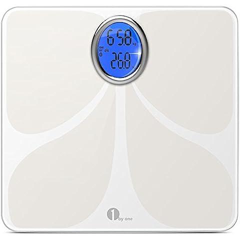 1byone Bilancia Diagnostica Digitale Bluetooth per Grasso Corporeo, App per Smartphone e Tablet per Peso Corporeo, Liquidi, Grasso, BMI, BMR, Massa Muscolare, Massa Ossea e Grasso Addominale
