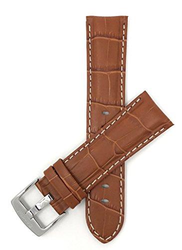 Leder Uhrenarmband 18mm für Herren, Hellbrun, mit weißer Naht, Alligatormuster, auch verfügbar in schwarz, braun, blau, rot