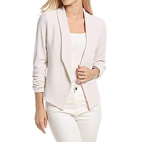 Damen T Shirt, CixNy Mode 2019 Bluse Damen Sommer 3/4 Sleeve Blazer Open Front Short Cardigan Suit Jacket Work Office Coat Oberteil Tops S-XL (Weiß, X-Large)