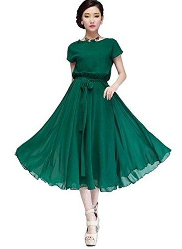 Aeropostale Rock (PLAER Lady Rock Chiffon Kleid Big Swing Beach Kleid, - Color: Green, 4)