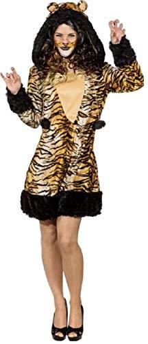 narrenkiste O9900-46-48 bunt Sexy Damen Tiger Kleid Kostüm Gr.46-48 (Sexy Tigerin Kostüme)