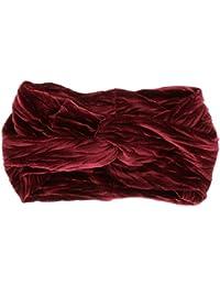 5832e6699b61 moonbow Bandeau Turban Velours Plissé Bordeaux - Bandeau Cheveux Hiver -  Headband Femme