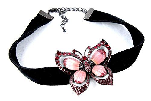 E LANG HALSKETTE Chocker Schnetterling Tracht Vintage Hals Collier (Vintage Trachten Schmuck Halskette)