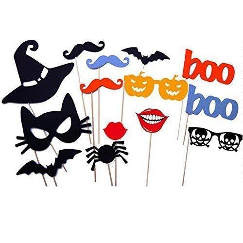 SA 14 STÜCK DIY Halloween-Party Karte Masken Fotostand Requisiten Schnurrbart Auf Einem Stab