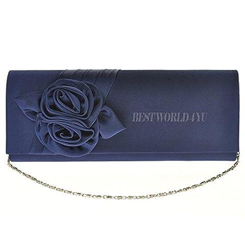 Wocharm Girly Handbags Flower Design Satin Clutch Bag Wedding Party Evening Women Ladies Handbag Purse (Navy