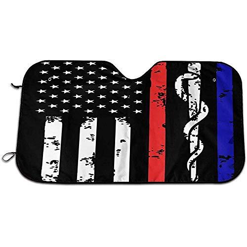 N/A Parasole della Finestra di Automobile Universale del Parasole del Parabrezza della Linea Blu e Rossa della Bandiera Americana antincendio