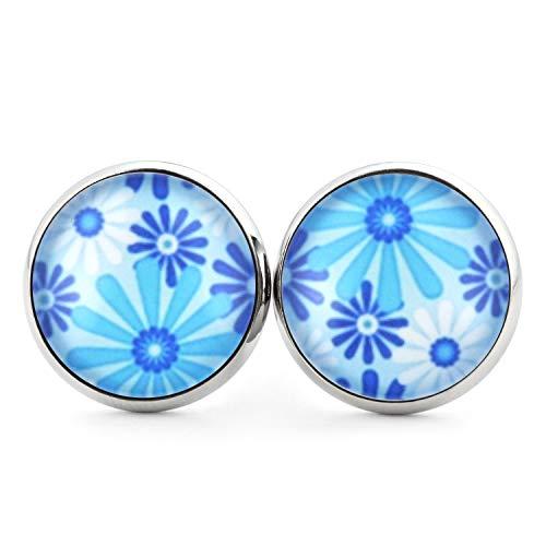 SCHMUCKZUCKER Damen Ohrstecker Blaue Blumen Modeschmuck Ohrringe mit Blüten Silber-farben blau weiß 14mm