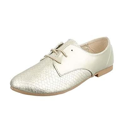 7ceb4267ae37e6 Schnürer Damen-Schuhe Oxford Blockabsatz Blockabsatz Schnürsenkel Halbschuhe  Gold