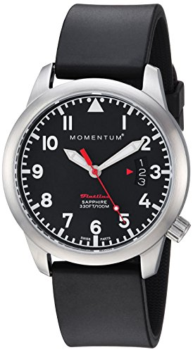 Momentum Women's 'Flatline 36' Quartz Stainless Steel and Rubber Casual Watch, Color:Black (Model: 1M-SP19BS1B)