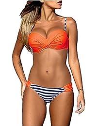 laamei Sexy Ensemble Maillot de Bain 2 Pièces Femme Bikini à Bretelle Push-Up Brésilien