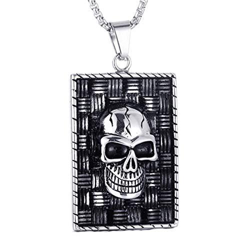 Halskette Gold Medallion Kostüm - Beglie Herren Halskette Titan Halskette mit Anhänger Quadratischer Totenkopfkopf Fashion Modeschmuck für Herren Silber