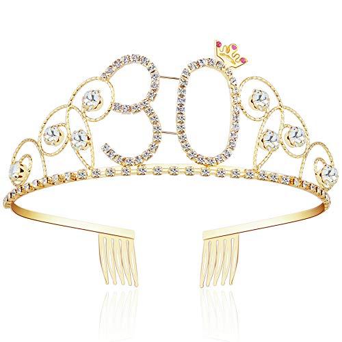 ArtiDeco Kristall Geburtstag Tiara Gold Birthday Crown Prinzessin Kronen Haar-Zusätze Gold Diamante Glücklicher 16/18/20/21/30/40/50/60/70/80/90/100 Geburtstag (30 Jahre alt)