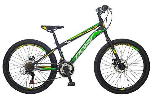 breluxx® 24 Zoll Mountainbike Hardtail Disk Sonic Sport grün, 18 Gang Shimano,D2 Scheibenbremsen - Modell 2019