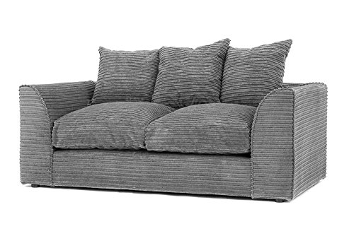 Cravog Jumbo-Ecksofa aus Chenille-Cord, Grau, Textil, grau, Jumbo Cord 2 Seater (Bett-kopf-nachthemd)