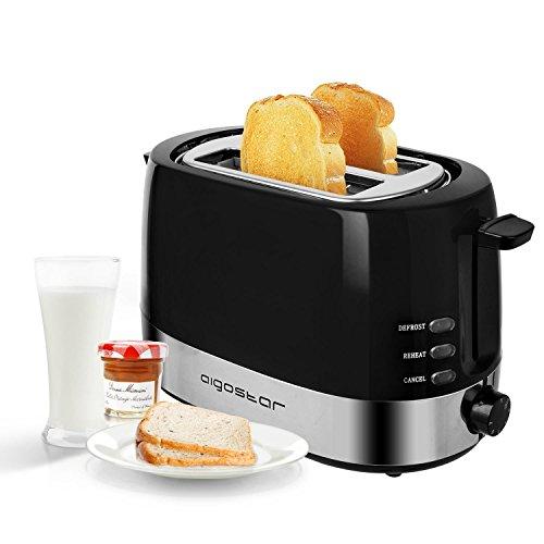 Aigostar Brotchen Nero 30HIL -Tostapane, 850W, 2 fette, regolazione della temperatura. BPA Free. Design esclusivo.
