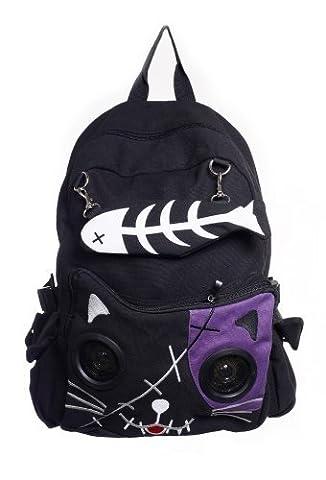 Banned Kitty Speaker Backpack - Black/Purple / One Size
