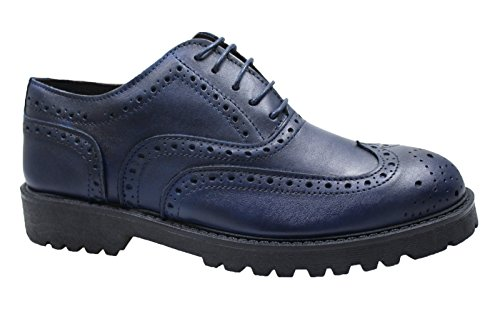Herren-Halbschuhe Blau Leder Casual elegant handgefertigt in Italien Gr. 394041424344, blau 42