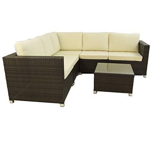 Conjunto sofás de jardín Caruno 7 - Hevea, Sofá rinconera 5 plazas + mesita Auxiliar, Estructura de Acero y rattán sintético, Color Marrón