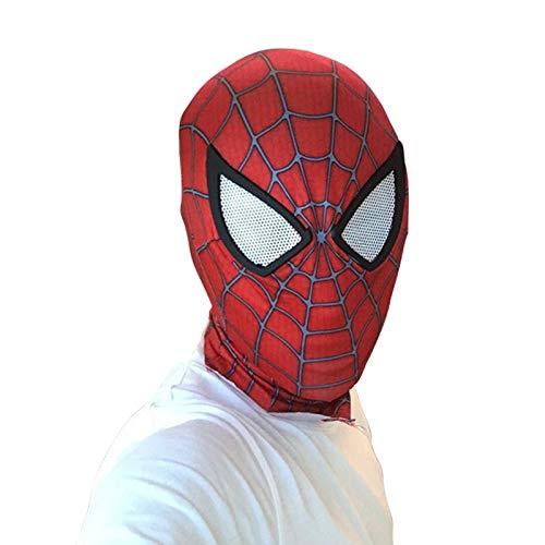 Kostüm Chong - JUFENG Spiderman Mask - Helm Comics Held Kopfbedeckung Kostüm Cosplay Für Erwachsene Und Jugendliche Digitaler 3D-Druck Latexmaske,Red