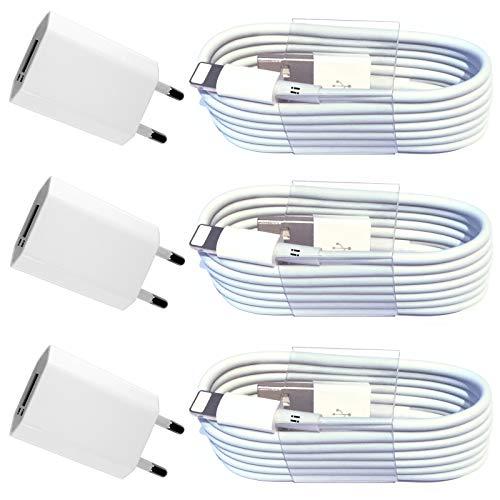 [6in1] 3X Netzteil 5V 1A + 3X 1m USB Ladekabel Datenkabel Ladegerät Set kompatibel mit [Apple iPhone XS XR XS Max X 10 8 8 Plus 7 Plus 6S Plus 6 Plus 5S 5C 5 SE | iPad | iPod] weiß