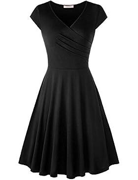 WAJAT Damen Wickelkleid A-Line V-Ausschnitt Kurzarm Casual Vintage Elegante Kleider