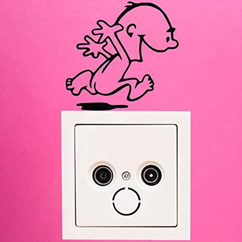 yuandp Lustiger Nackter Laufender Mann Charakter Schalter Vinyl Aufkleber Aufkleber Kinderzimmer Lichtschalter Wandaufkleber 9x9cm Charakter Männer