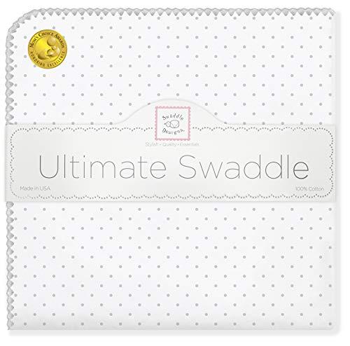 SwaddleDesigns Manta Envolvente Ultimate, Franela de Algodón de calidad superior, Lunares, Plata