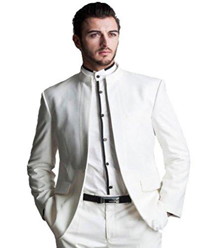 MYS da uomo personalizzata Groomsman Mandarino Colletto Smoking Tuta Pantaloni Set Bianco White Su Misura