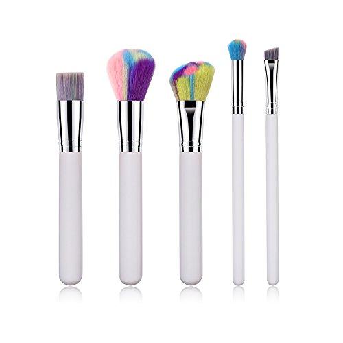 Wicemoon Tube en Aluminium Cosmétique Professionnel Poignée en Bois Synthétique Pinceaux Maquillage pour Produits de Toute Consistance