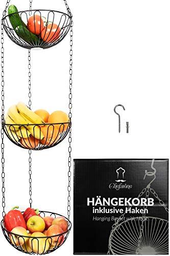 Chefarone Obstkorb hängend mit Deckenhaken - 130cm Küchenampel zum Aufhängen - Obst Hängekorb Küche (schwarz)