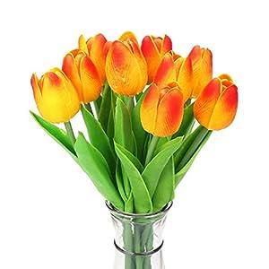 10PCS del tulipán de Las Flores Artificiales de látex Tacto Real para la Boda del Ramo de Naranja