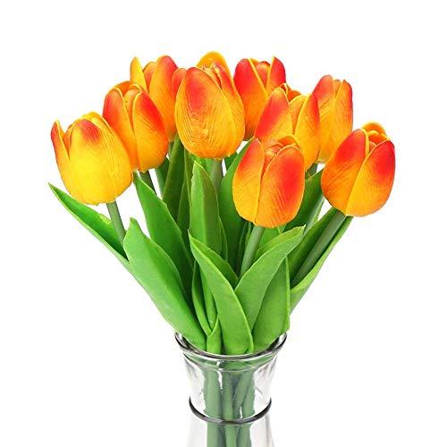 Hemore 10pcs Tulpe Kunstblumen Großhandel Tulpe-Blumen-Latex Real Touch für Wedding Bouquet Dekor Beste Qualität Blumen Orange Hohe Qualität, praktisch, die Sie verdient haben