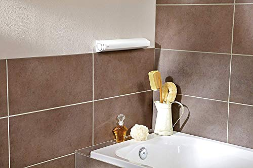 Leifheit Tendedero Extensible de Pared Rollfix 210, tendal Plegable con Cinco Cuerdas Resistentes ex
