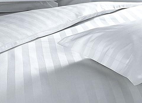 T250 Luxury Duvet Covers 100% Pure Premium Combed Cotton Satin Stripe Bedding (White - Single) Diamond Range By Bemode