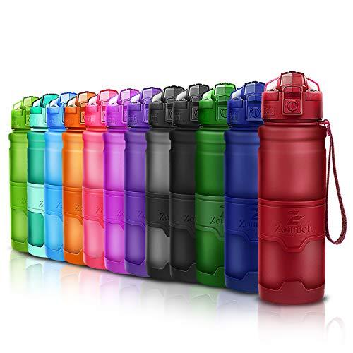 ZOUNICH Trinkflasche Sport BPA frei Auslaufsicher 1L/700ml/500ml/400ml Wasserflasche Kunststoff Sporttrinkflaschen für Kinder Schule, Joggen, Fahrrad, öffnen mit Einer Hand Trinkflaschen Filter Liter