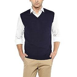 Wills Lifestyle Mens V Neck Solid Sweater_Navy_Medium