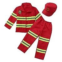 MSemis Kids Fireman Costume Set Girls Boys Firefighter Cosplay Fancy Dress Up Thick Jacket Coat with Pants Hat Set
