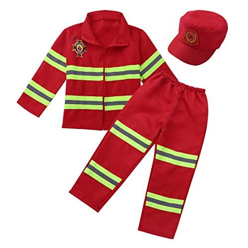 Alvivi Feuerwehrmann Kostüm für Kinder Verkleidung für Fasching-Kostüm - Jungen Feuerwehrkostüm Uniform Cop Officer Bekleidung Rot 110-116 (Für Kinder Feuerwehrmann-uniform)