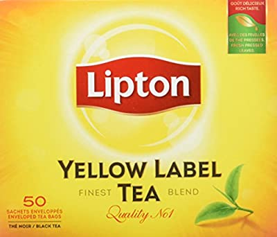 Lipton Thé Noir Yellow Label Tea x50 Sachets 100g - Lot de 5
