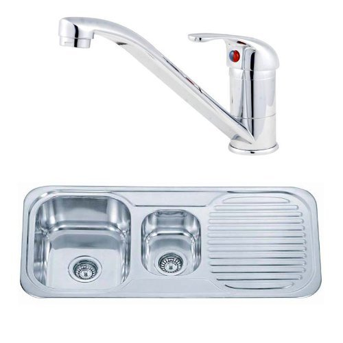 Bowl Top Mount Kitchen Sink (1.5 Bowls Inset Counter Top Mount Stainless Steel Kitchen Sink And Short Tap Deal (pack KST070) by Grand Taps)