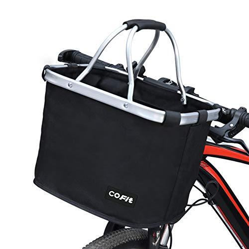Cofit cestino per bici staccabile nero, cestino multiuso per biciclette da trasporto per animali domestici, borsa per la spesa, custodia per pendolari, campeggio all'aperto